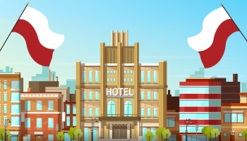 animation graphic with hotel